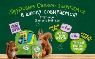 Акция Фруктовый сад — регистрация чеков и розыгрыш школьных призов