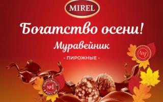 Акция Mirel «Богатство осени!» — регистрация кода с пирожного «Муравейник»