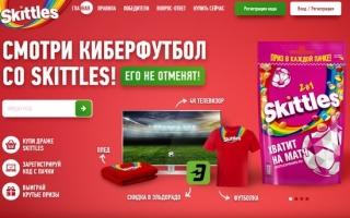 Промо акция Skittles — регистрация кода «Хватит на матч»
