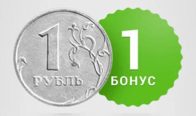 1 рубль = 1 бонус